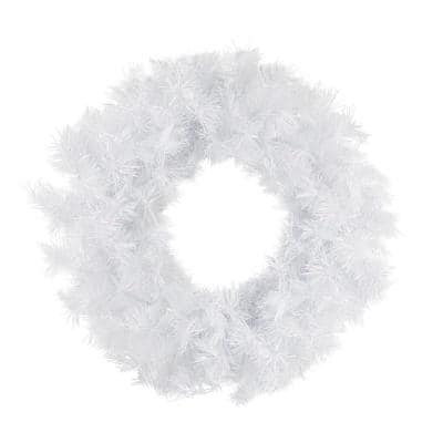 18 in. Unlit Spruce Artificial Christmas Wreath, Icy White