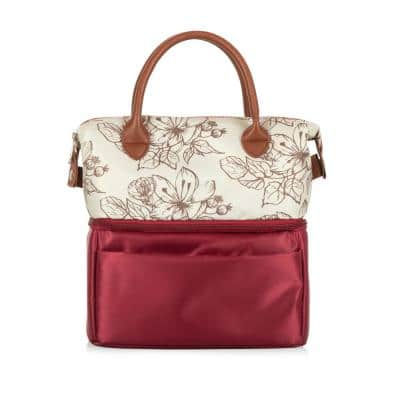 Urban Floral and Maroon Red Lunch Bag