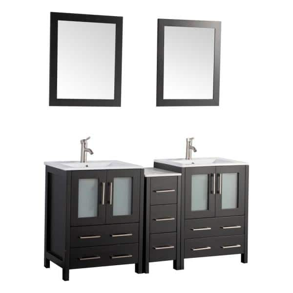 Vanity Art Brescia 60 In W X 18 In D X 36 In H Bath Vanity In Espresso With Vanity Top In White With White Basin And Mirror Va3024 60e The Home Depot