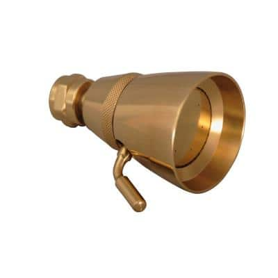 1-Spray 2.3 in. Single Wall Mount Fixed Adjustable Shower Head in Polished Brass