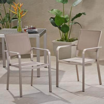 Cape Coral Silver Aluminum Outdoor Dining Chair in Taupe (2-Pack)
