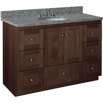 Shaker 48 in. W x 21 in. D x 34.5 in. H Simplicity Vanity Center Basin with Side Drawers in Dark Alder