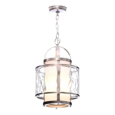 Bay Court Collection 1-Light Brushed Nickel Foyer Pendant with Etched Opal Glass