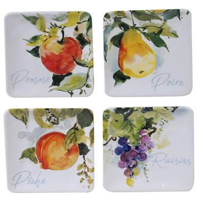 Ambrosia 4-Piece Seasonal Multicolored Earthenware 6 in. Canape Plate Set (Service for 4)