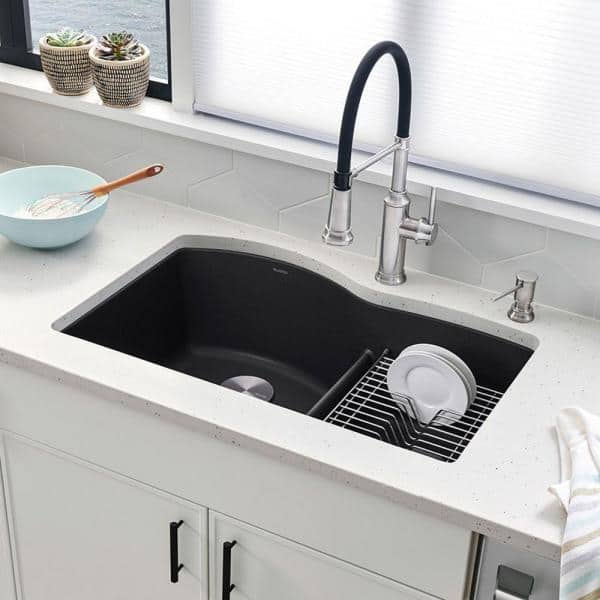 Blanco Diamond Silgranit Dual Mount Granite Composite 33 In 1 Hole 60 40 Double Bowl Kitchen Sink Anthracite 440215 The Home Depot