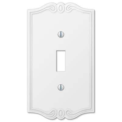 Charleston 1 Gang Toggle Composite Wall Plate - White