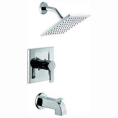 Modern Single-Handle 1-Spray Tub and Shower Faucet in Chrome (Valve Included)