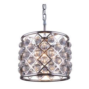 Timeless Home 14 in. L x 14 in. W x 13 in. H 3-Light Polished Nickel with Clear Crystal Contemporary Pendant
