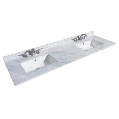 72 in. W x 22 in. D Marble Double Basin Vanity Top in White Carrara with White Basins