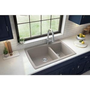 Drop-In Quartz Composite 34 in. 1-Hole 60/40 Double Bowl Kitchen Sink in Concrete