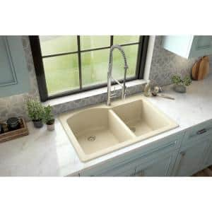 Drop-In Quartz Composite 33 in. 1-Hole 60/40 Double Bowl Kitchen Sink in Bisque