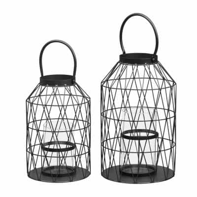 Black Wire Candle Hanging or Tabletop Lantern (Set of 2)