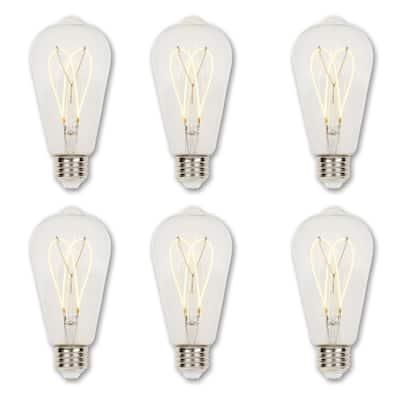 25-Watt Equivalent ST20 Dimmable Clear Edison Flexible Filament LED Light Bulb Soft White (6-Pack)