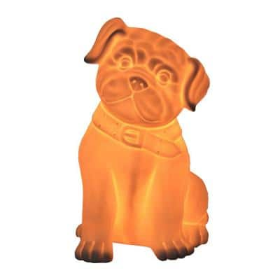 Animal Love 10.53 in. Porcelain Puppy Dog Shaped Animal Table Lamp