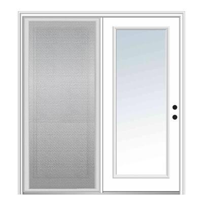 75 in. x 81.75 in. Primed Fiberglass Prehung Left Hand Inswing Clear Glass Full Lite Hinged Patio Door w/ Sliding Screen