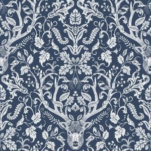 Kiwassa Navy Antler Damask Paper Strippable Roll (Covers 56.4 sq. ft.)