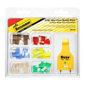 ATM 42-Piece Automotive Mini Blade Fuse Kit with Fuse Tester/Puller