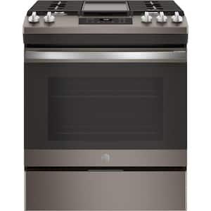 5.3 cu. ft. Slide-In Gas Range with Steam-Cleaning Oven in Slate, Fingerprint Resistant