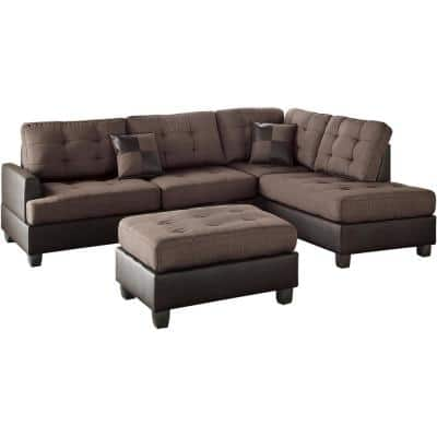 Genoa Chocolate Polyester 6-Seater L-Shaped Sectional Sofa with Ottoman