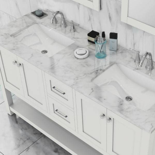 Alya Bath Wilmington 60 In W X 34 2 In H X 22 In D Vanity In White With Marble Vanity Top In White With White Basin He 102 60d W Cwmt The Home Depot