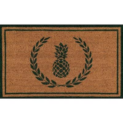 Park Pineapple Green and Natural 1 ft. 6 in. x 2 ft. 6 in. Indoor/Outdoor Doormat