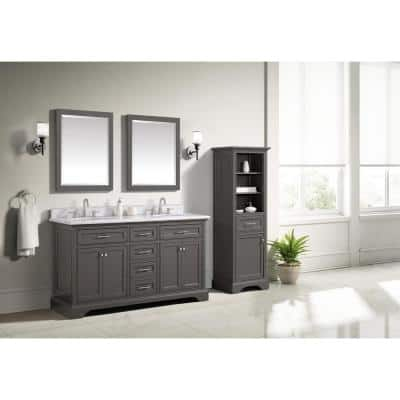 Windlowe 61 in. W x 22 in. D x 35 in. H Bath Vanity in Gray with Carrara Marble Vanity Top in White with White Sink