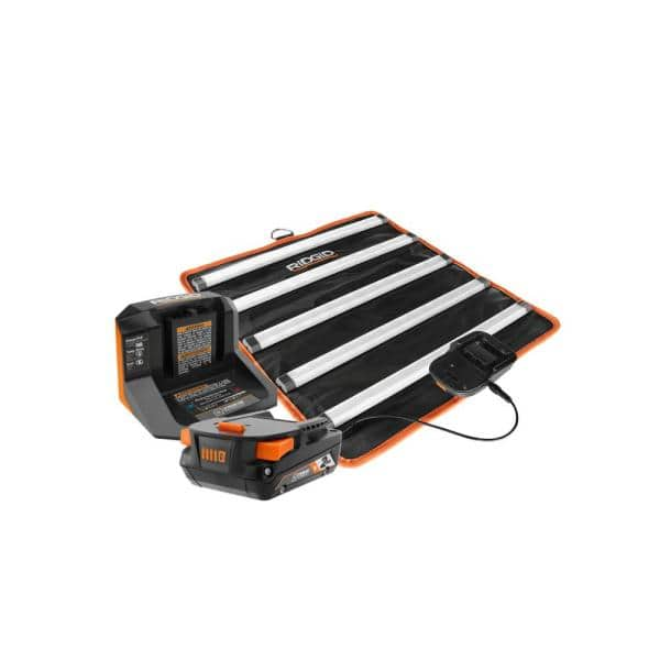 RIDGID 18-Volt Cordless LED Mat Light Kit with (1) 2.0 Ah Battery and Charger | The Home Depot