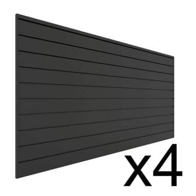 96 in. H x 48 in. W (128 sq. ft.) PVC Slat Wall Panel Set Charcoal (4 panel pack)