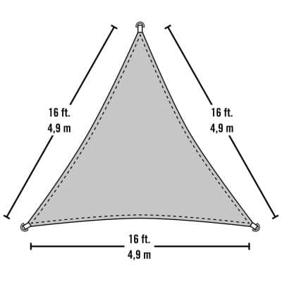 16 ft. W x 16 ft. L Triangle, Heavy-Weight Sun Shade Sail in Sea Blue (Poles Not Included) with Breathable Fabric