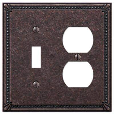 Imperial Bead 2 Gang 1-Toggle and 1-Duplex Metal Wall Plate - Tumbled Aged Bronze