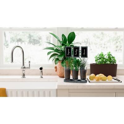 Modena Windowsill Matte Mocha Plastic Planter and Herb Garden