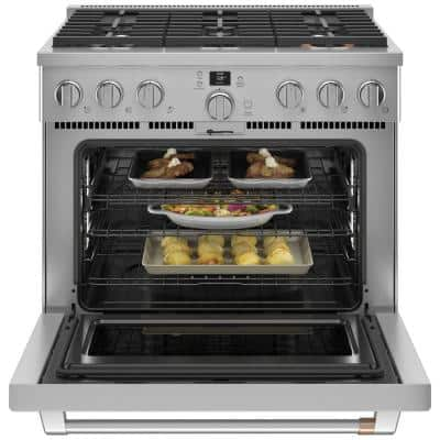 36 in. 5.75 cu. ft. Smart Dual Fuel Range with Self-Cleaning Convection Oven in Stainless Steel