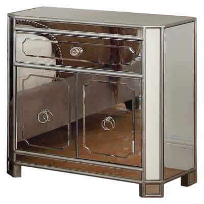 Liliana 1-Drawer 30 in. H x 29 in. W x 17 in. D Silver Mirrored Nightstand