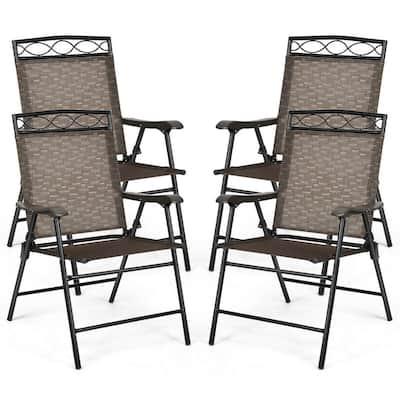 Black Folding Sling Metal Outdoor Dining Chair in Brown (Set of 4)