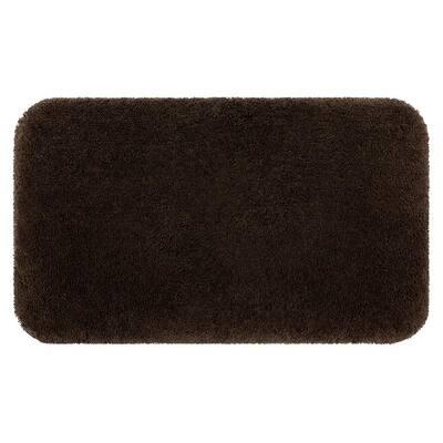 Riverside Dark Brown 20 in. x 34 in. Nylon Machine Washable Bath Mat