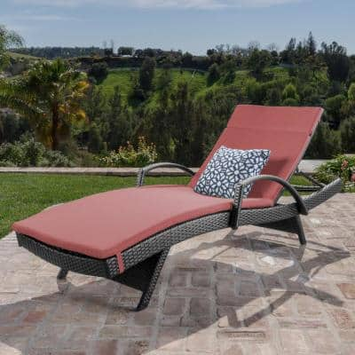 Miller Grey Wicker Outdoor Chaise Lounge with Red Cushion and Armrest