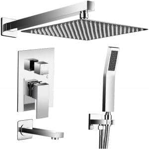 2-Handle 2-Spray Tub and Shower Faucet Handheld Shower Combo with 10 in. Rain Shower Head in Chrome (Valve Included)