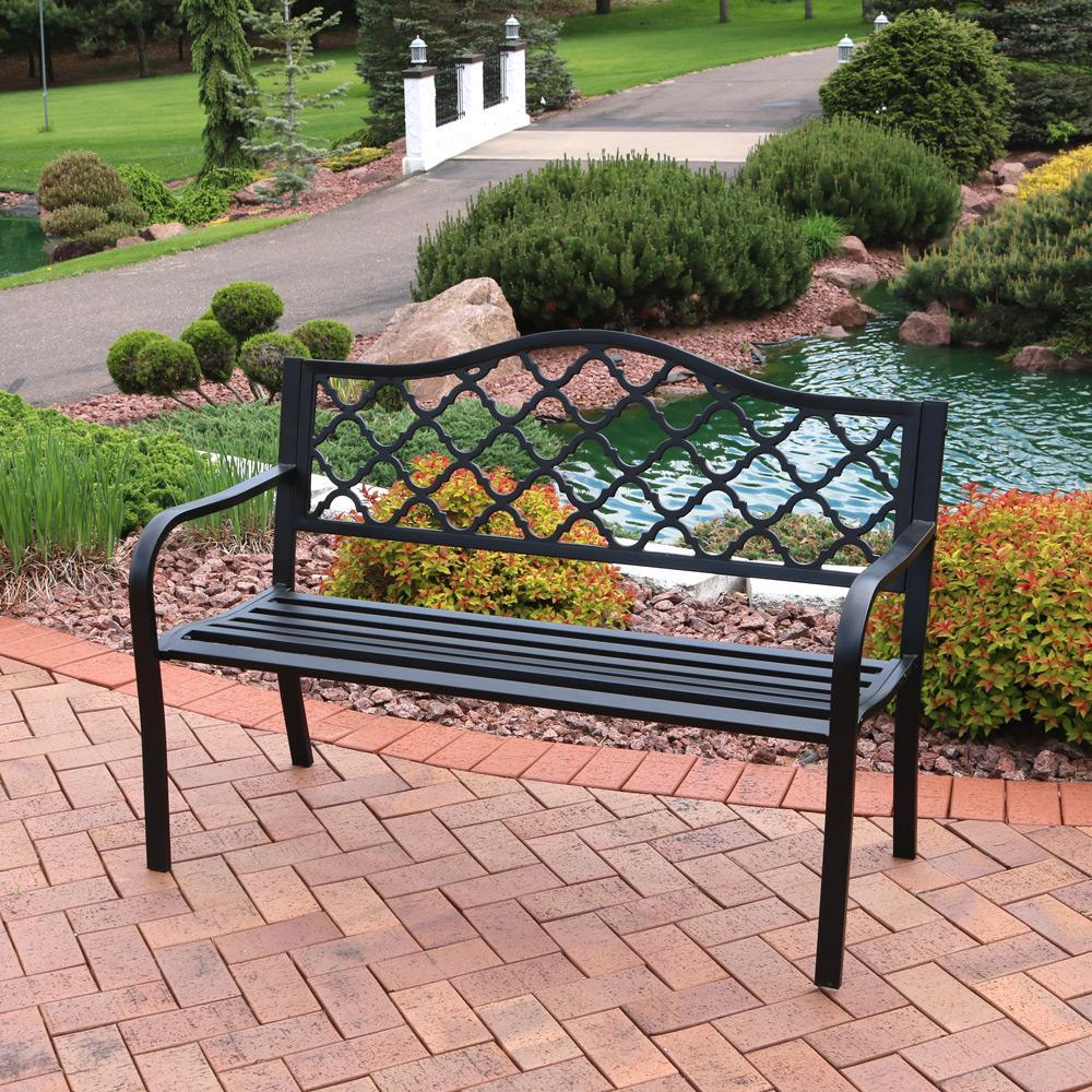 Lattice Black Cast Iron Outdoor Bench