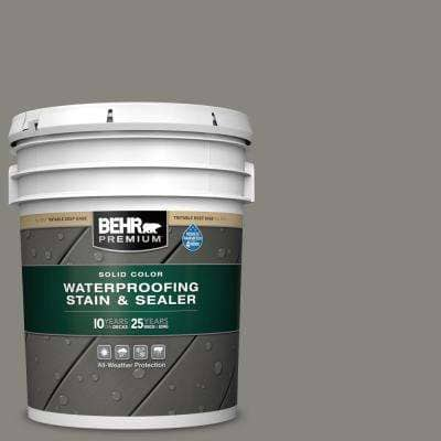 5 gal. #SC-137 Drift Gray Solid Color Waterproofing Exterior Wood Stain and Sealer