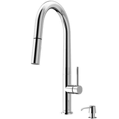 Greenwich Single-Handle Pull-Down Sprayer Kitchen Faucet with Soap Dispenser in Chrome
