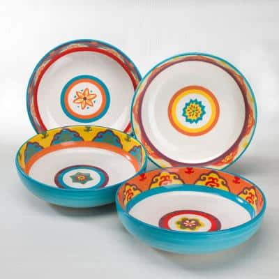 Euro Ceramica Galicia 4-Piece Pasta Bowl Set