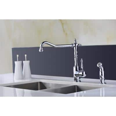 Locke Single-Handle Standard Kitchen Faucet with Side Sprayer in Polished Chrome