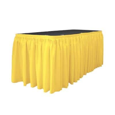 14 ft. x 29 in. Long Light Yellow Polyester Poplin Table Skirt with 10 L-Clips