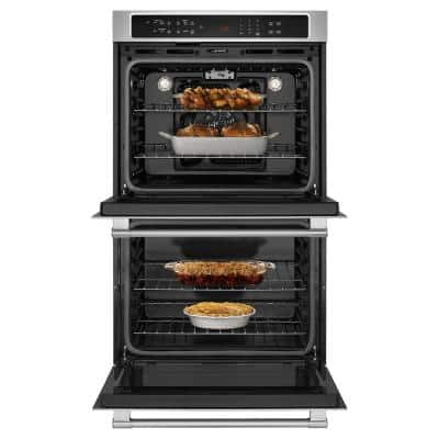 27 in. Double Electric Wall Oven with True Convection in Fingerprint Resistant Stainless Steel