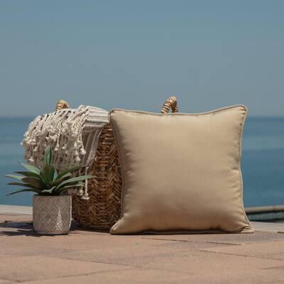 Oasis 18 in.  Desert Tan  Square  Indoor/Outdoor  Throw Pillow