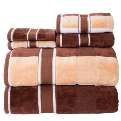 6-Piece Brown Striped 100% Cotton Bath Towel Set