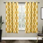 Sundress Yellow Trellis Thermal Blackout Curtain - 52 in. W x 63 in. L (Set of 2)