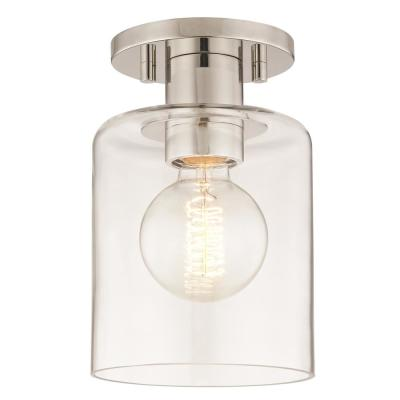 Neko 1-Light Polished Nickel Semi-Flush Mount with Clear Glass
