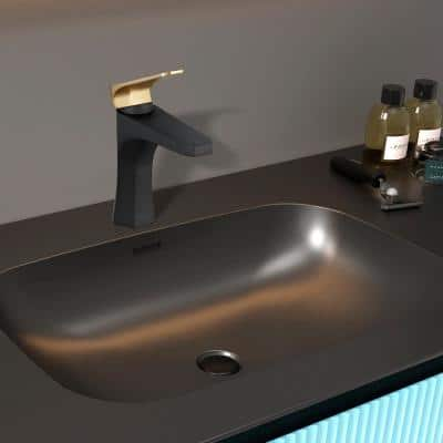 Single Hole Single-Handle Bathroom Faucet in Matte Black with Brushed Gold Handle