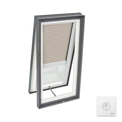 22-1/2 x 46-1/2 in. Solar Powered Venting Curb Mount Skylight, Laminated LowE3 Glass, Classic Sand Light Filtering Blind